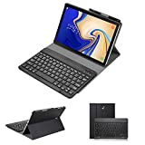 Samsung Galaxy Tab S4 10.5 2018 Tastatur Leder Hülle, Slim Abnehmbare Folio PU Hülle Wireless Bluetooth Built-in Stand Abnehmbare Abdeckung mit Auto Sleep/Wake für SM-T830/T835/T837