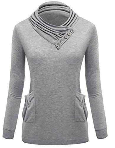 Ghope Sweat-shirts Femme Pull de sport Manche Longue Chaud Uni Veste Sweat Col roulé Sweatshirt Pullover Gris Cair