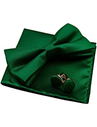Solid Pre-tied Bow Tie Cufflinks Hanky Set for Men Neck Wear, Dark Green