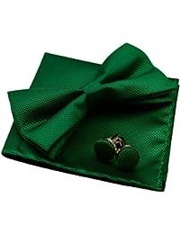 Alizeal Estructura-Pajarita, Pañuelo y Gemelos para Hombre Verde Oscuro