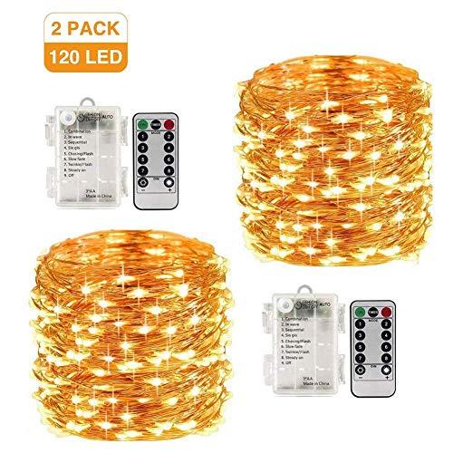 LED Lichterkette x 2 Batteriebetrieben 120LEDs 12M mit Fernbedienung Wasserdichte Dekorative 8 Modi Warme Weiße Lichter für Weihnachts Schlafzimmer Garten Terrasse Party Hochzeit (LED Lichterketten) -