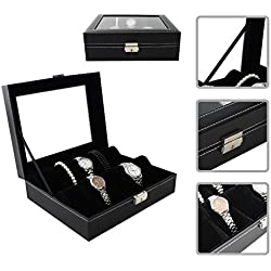 Watch box/ Capacity of 10 watches /in PU elegant black leather finish