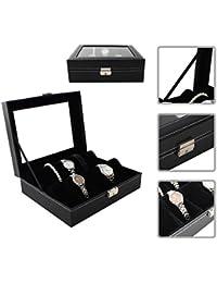 Cofre para reloj / Capacidad de 10 relojes / En cuero PU negro elegante