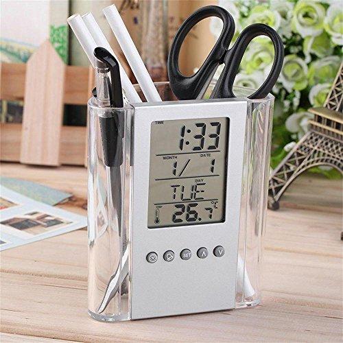 Gaddrt multi-funzioni scrivania portapenne display lcd sveglia termometro calendario