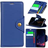 LG Q7 Leather Wallet Case with Leather Case, Meroollc LG Q7 Flip Cover, Leather Case, Pouch Case (Blue)