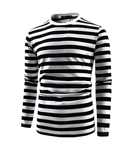 Herren Langarmshirt Longsleeve Leicht Basic Gestreiftes T-Shirt mit Rundhals Ausschnitt (Schwarz&Weiß, XXL)