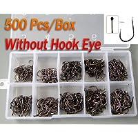 500 piezas en Caja Mezclado 10 Tamaños ningún ojo sin ojos carbono dorado Pesca negro Anzuelo eyeless hook