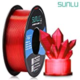 SUNLU Transparent PLA Filament 1.75 mm 3D Printer Filament, 1kg Spool 3D Printing Filament, Dimensional Accuracy +/- 0.02 mm for 3D Printer and 3D Pen (Transparent Red)