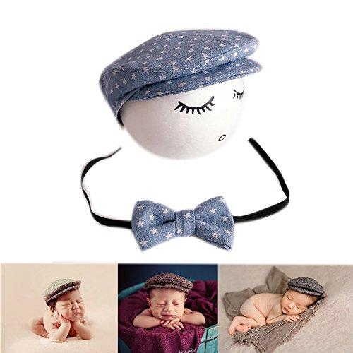 Neugeborene Baby Fotografie Foto Stützen Junge Mädchen Kostüme Outfits Kleidung Niedlichen Hut (Denim Blue)