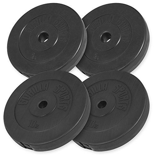 GORILLA SPORTS® Hantelscheiben-Set 30 kg Kunststoff - 2 x 5 kg, 2 x 10 kg Gewichte mit 30/31 mm Bohrung
