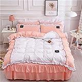 GJH Nähen Spitze Bettwäsche-Set 4pcs, Baumwolle - Weich Atmungsaktiv Gemütlich Robustheit Bettbezug-Set pflegeleicht Etagenbett Rock,elegantjade,1.5M
