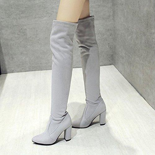 TAOFFEN Femmes Mode Longue Bottes A Enfiler gray