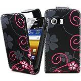 Accessory Master Coque en cuir pour Samsung Galaxy y S5360 Rose / noir Fleur