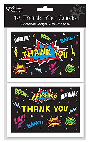Kinder-Dankeskarten und Umschläge in englischer Sprache, schwarz, Superhelden-Design, 12Stück