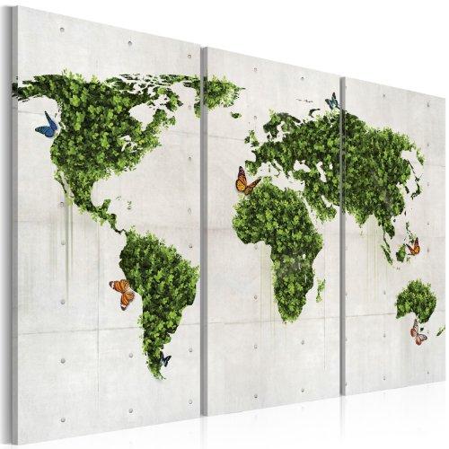 Murando - quadro 120x80 cm - 3 parti - quadro su tela fliselina - stampa in qualita fotografica - mappa del mondo 020113-58