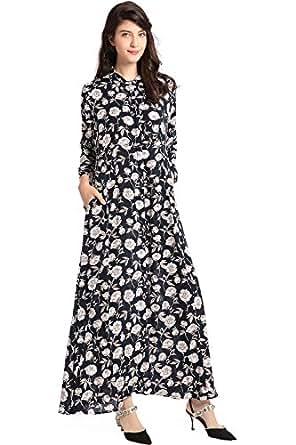 cf6552c653 BAYA Fashion Women Long Sleeve Dress Floral Print Vintage Maxi Dress  Vestidos de Festa Muslim Robe