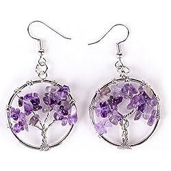 Aretes De La Vida Cristal De Piedra Dangle Gancho Pendientes (Púrpura)