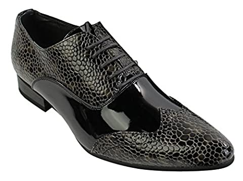 Hommes italian patent shiny leather snake smart shoes laced black grey brown