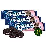 OREO Strawberry-Cheesecake Creme Biscuits Original 3x 154g (462g) - Sandwich-Kekse mit Erdbeer-Aroma