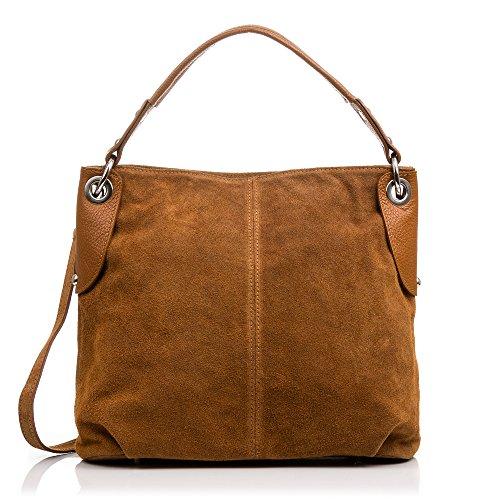 FIRENZE ARTEGIANI.Handtasche für Damen aus echtem Leder. Shopper. Schultertasche für Damen Echtes italienisches Leder. 33 x 30 x 12 cm. Farbe: Brown - Firenze Leder Taschen