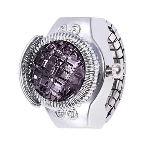 Gaddrt Uhren Ringuhr Mode Frauen Schmuck Runde Fingerring Uhr Stein Stahl Elastische Dame Mädchen Geschenk (Schwarz)