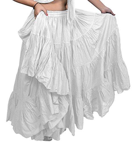 25Yard Baumwolle Röcke ATS abgestuftes Uni Farben dancing Rock Bauchtanz Weiß weiß 36/37 inch