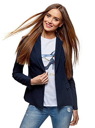 oodji Collection Damen Klassischer Taillierter Blazer, Blau, DE 34 / EU 36 / XS