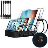 JZBRAIN Station de Charge avec commutateur Chargeur USB Multiprise 5 Ports Chargeur USB Support de Charge pour Smartphones...