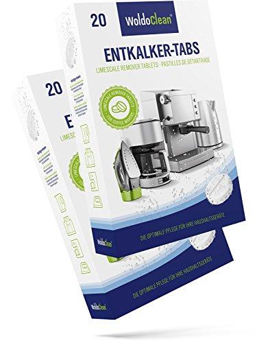 Entkalkungstabletten für Kaffeevollautomaten, Kaffeemaschine, Wasserkocher & Kapselmaschine - 40 Entkalker Tabs 16g pro Tablette universal einsetzbar