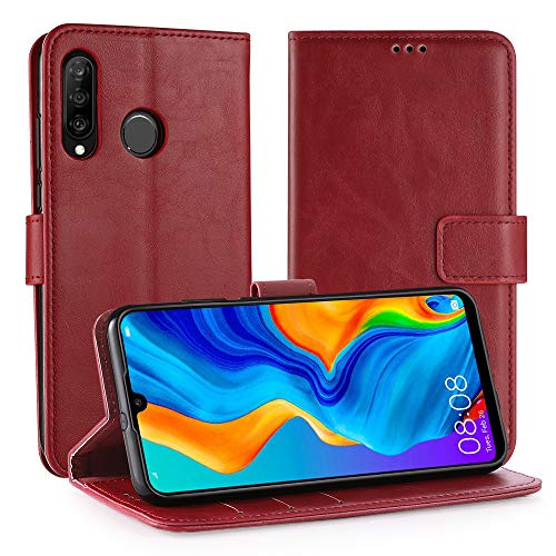 Simpeak Ersatz für Huawei P30 Lite Hülle Rot [6,0 Zoll], Case Cover handyhülle für Huawei P30 Lite flipcase [Kartensteckplätze] [Stand Feature] [Magnetic Closure Snap] Rot Cover Case Snap