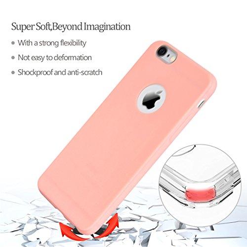 iPhone 6 Hülle , iPhone 6 / 6S Schutzhülle , E-Lush TPU Einfarbig Handytasche für Apple iPhone 6 / 6S (4.7 Zoll) Weiche Flexible Silikon Kratzfeste Handyhülle Ultra Chic Dünn Schutzhülle Rückschale Et Rosa