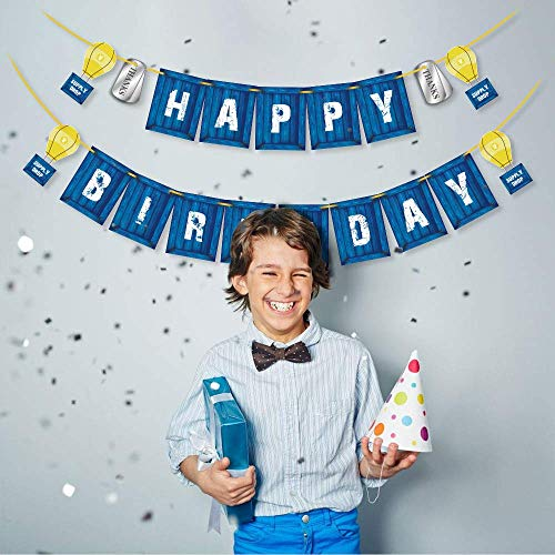 Sayala Gaming Happy Birthday Party Banner mit blau personalisierte Geburtstagskennzeichen Banner für Geburtstagsparty liefert Dekoration