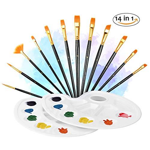 ATMOKO 12 Künstlerpinsel, 2 Mischpalette, Premium Nylon Pinsel für Aquarell, Acryl & Ölgemälde usw. Perfektes Pinsel Set für Anfänger, Kinder, Künstler und Gemälde Liebhaber, Schwarz 【Neue Version】