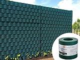 Sichtschutz grün, 25,5 Meter - zur Anbringung an Doppelstabmatten - Lärm-, Sicht- & Windschutz - einfache Montage, ohne Werkzeug - 1,2 mm Stärke statt der üblichen 1,0 mm - Made in Germany