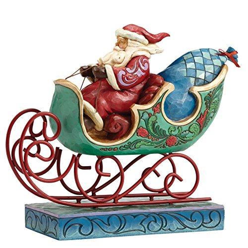 Creek Schlitten (Heartwood Creek 4053675 Winter Wonderland Santa In Sleigh, Stein, bunt, 9 x 25.5 x 20.5 cm)