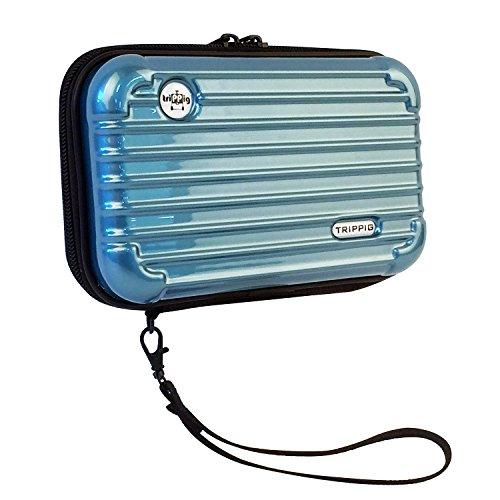 Mini Kosmetik-etui (Trippig - Pass-Etui, Reiseportemonnaie, Kosmetik-Etui, große Geldbörse Handschlaufe Blau Metal Blue)