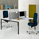 NOVA 2er Gruppenarbeitsplatz Weiß Team Bench Schreibtisch Doppel-Arbeitsplatz, Gestellfarbe:Anthrazit
