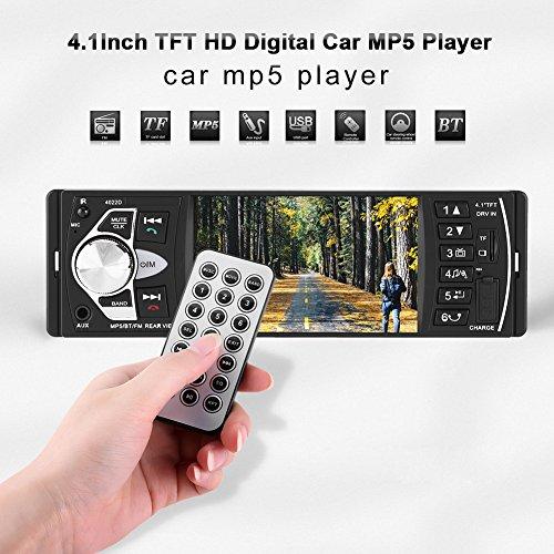 Tonysa 4,1-Zoll-HD-Bluetooth-Freisprecheinrichtung MP5-Player-Video Wiedergabe von FM-Radio AUX TF USB-Unterstützung Leistungsausgang mit Fernbedienung(Schwarz)