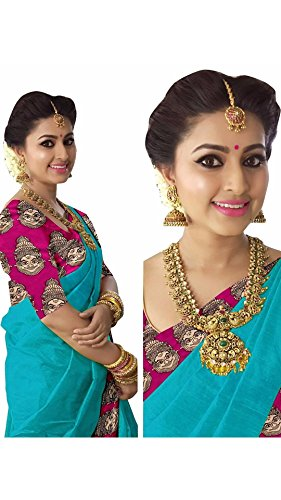 Rajeshwar Fashion Women's Cotton Saree With Blouse Piece (Km 1238 Happy Border...