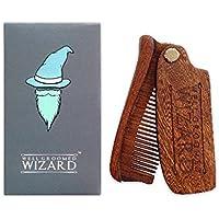 Well Groomed Wizard Peine de la Barba Plegable Sandalo, de Madera, Anti Estática Bigote y Peine del pelo | Uso con aceites Bálsamos y cera | El regalo perfecto de alta calidad de bolsillo