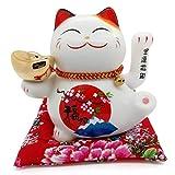 Cindio Winkekatze Glückkatze Maneki Neko aus Porzellan mit USB-Ladekabel Winkekatze mit Glocken in Weiß 18 cm