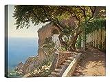 DìMò ART Bild Druck auf Leinwand mit Rahmen in Holz Carl Frederic Aagaard Pergola in Amalfi 40x30 CM