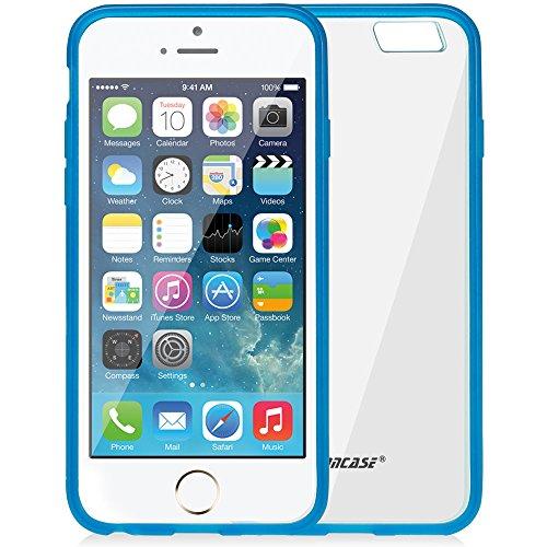 Jisoncase Dünne Transparente Hülle für Apple iPhone 6 (4,7 Zoll) Silikon Schutzhülle Leicht Case Hochwertige TPU Durchsichtig Kristall Handyschale Rosa JS-IP6-03P33 blau