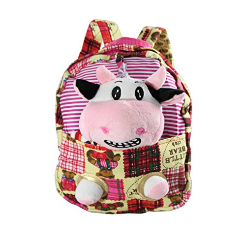 Kinder Rucksack Tasche Kindergarten Vorschule Reise Plüsch Kuschel Tier Teddy (Kuh)
