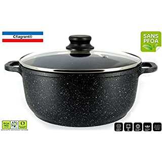 Cflagrant® - stewing pot 20 cm - stone aspect with lid - suitable for all stoves including induction - PFOA free - fat-free cooking