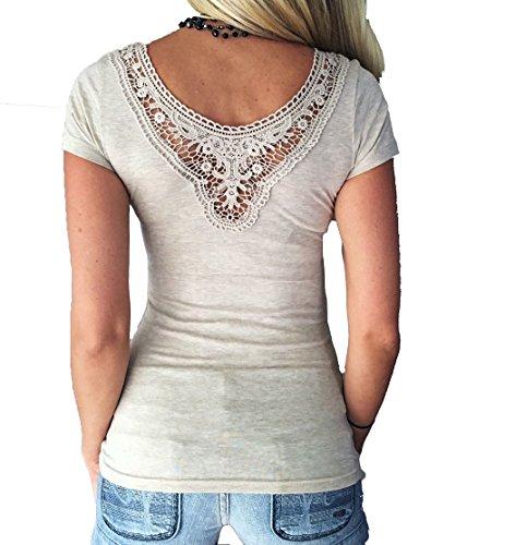 Damen Sexy T-Shirt Tops Bluse Oberteil Mit Spitze (Shirt Bluse Sexy)