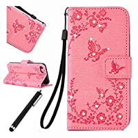 iPhone 7 Bling Case,iPhone 7 Leather Case,Beddouuk Luxury Elegant Bling Shiny Glitter Sparkling Rhinestone Diamond Floral Flower and Butterfly PU Leather Wallet Case Cover with Rope/Strap and Stand Feature Magnetic Closure for iPhone 7 4.7Inch,Butterfly,P