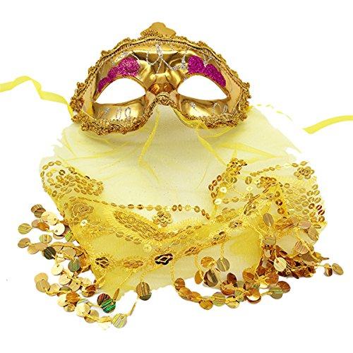 Über Kostüme Bauchtanz (Tinksky Mysterious Schleier Cosplay Maske Frauen Fancy Ball Eyemask mit Pailletten für Karneval Masquerade Latin Dance Bauchtanz Party)