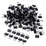 Mini Metal Foldback Klemmer Büroklammern Binder Clips, Schwarz, 2 * 60 Stück (15 mm)