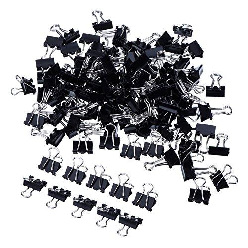 Mini Clips de Pinzas Metálicas de Papel, Negro, 2 * 60 Piezas (15 mm)